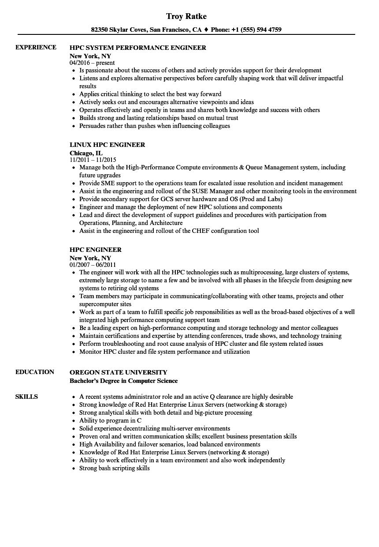 hpc engineer resume samples