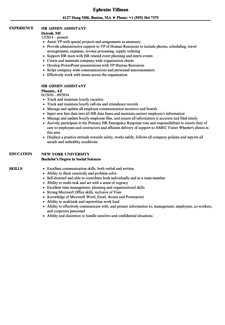 HR Admin Assistant Resume Samples | Velvet Jobs