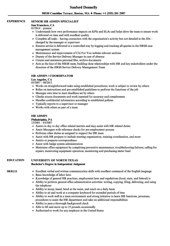 hr admin resume samples