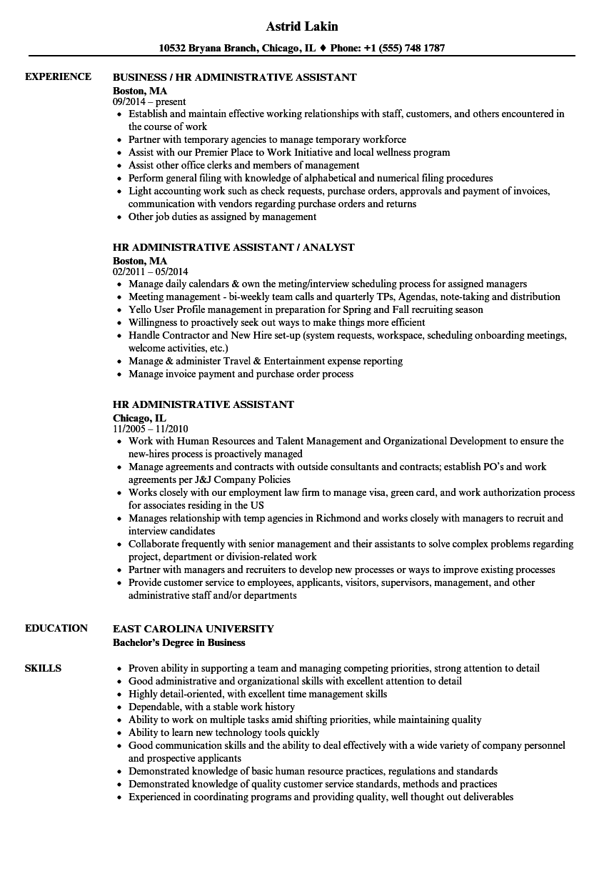 Hr administrative assistant resume samples velvet jobs for Sample resume for hr and admin executive