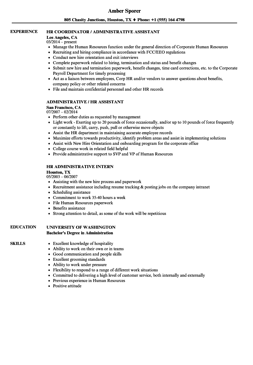 Hr administrative resume samples velvet jobs for Sample resume for hr and admin executive
