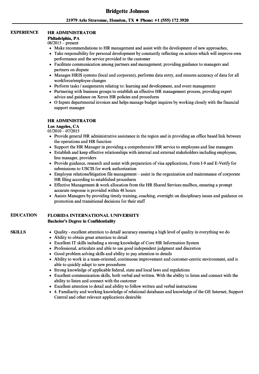 Hr administrator resume samples velvet jobs for Sample resume for hr and admin executive