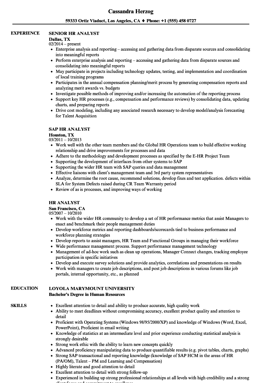 Download HR Analyst Resume Sample As Image File