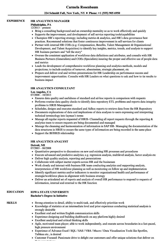 hr analytics resume samples