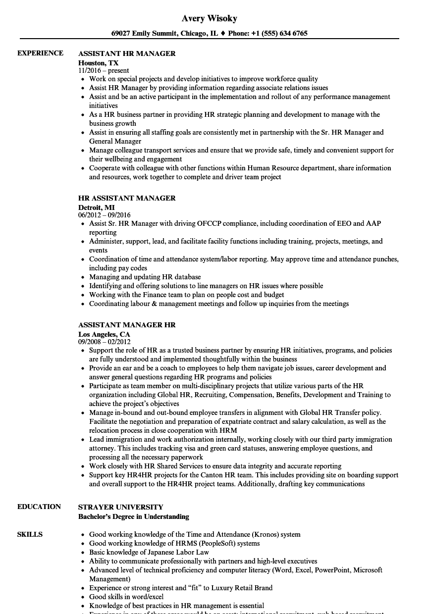Hr Assistant Manager Resume Samples Velvet Jobs