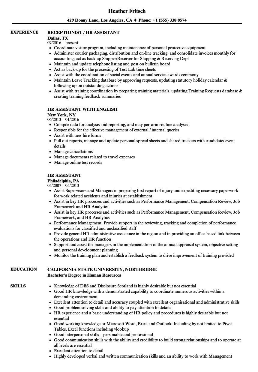 Hr Assistant Resume Samples Velvet Jobs