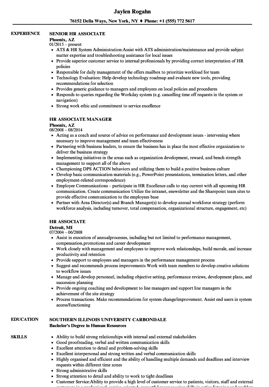 hr associate resume samples