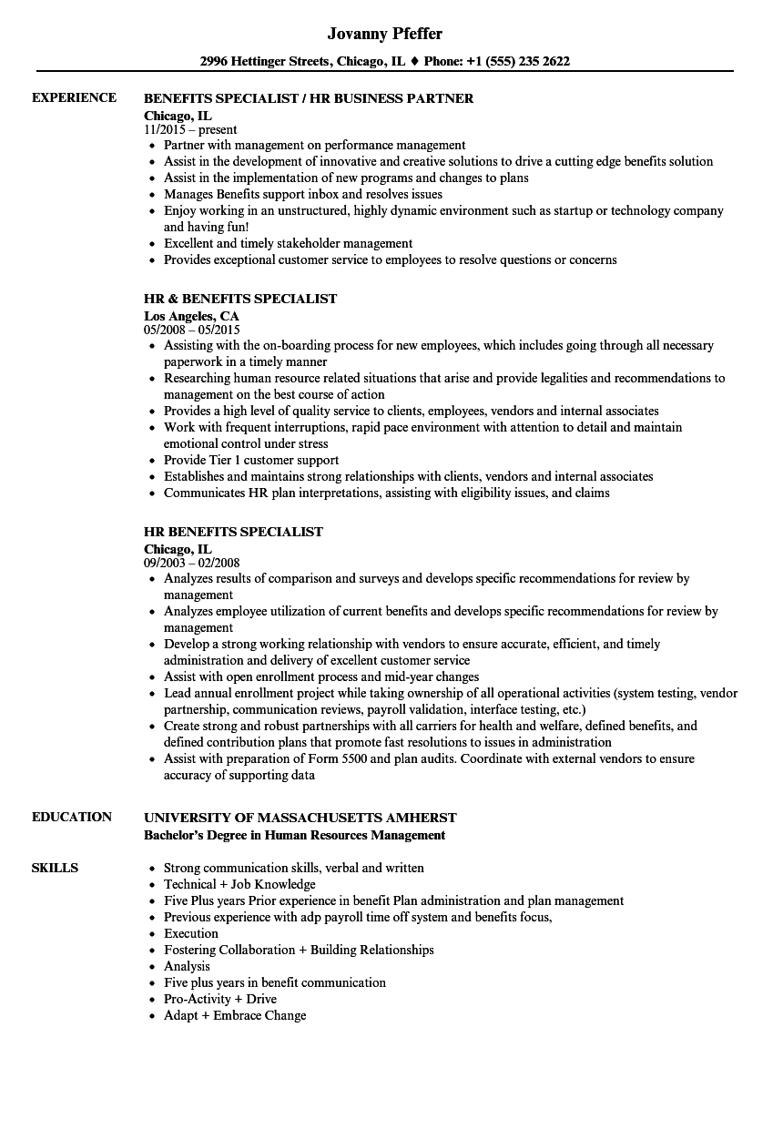 hr benefits specialist resume samples