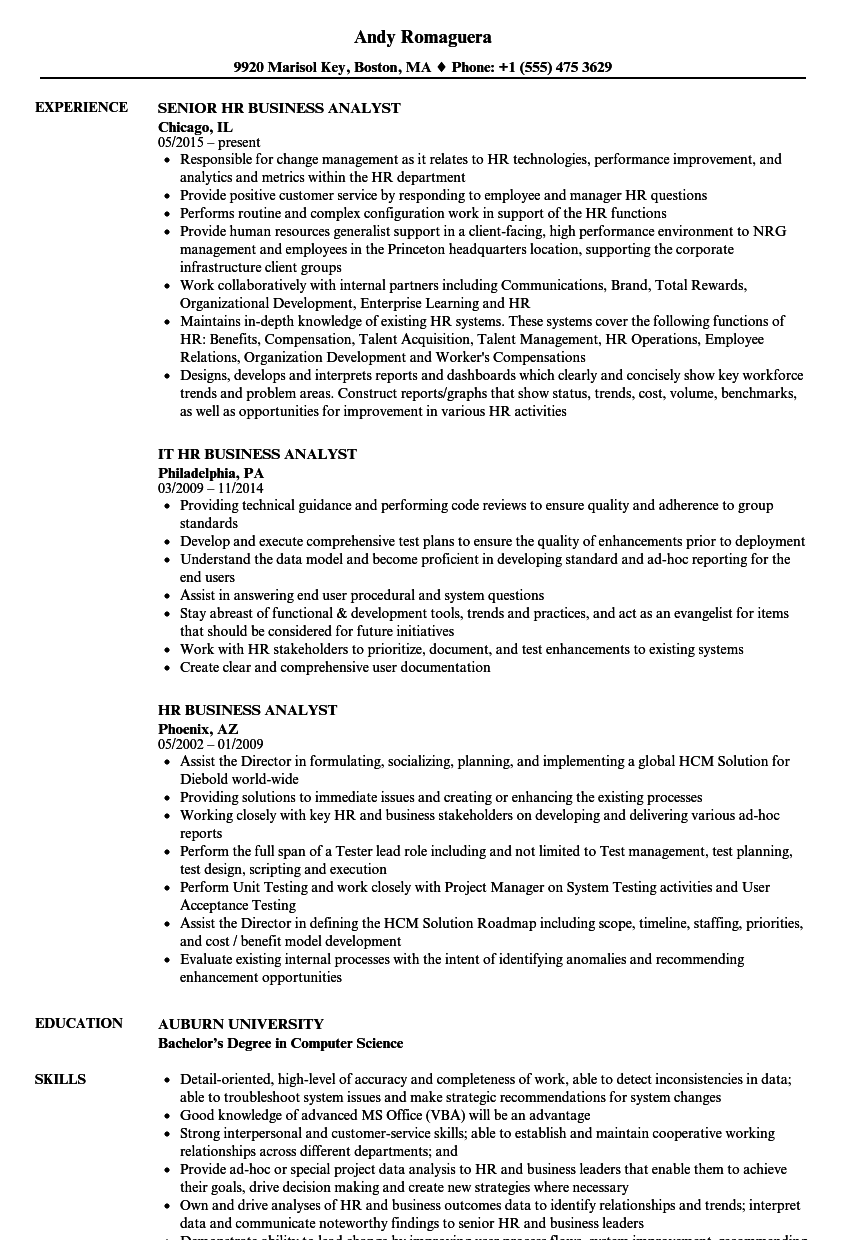 Download HR Business Analyst Resume Sample As Image File