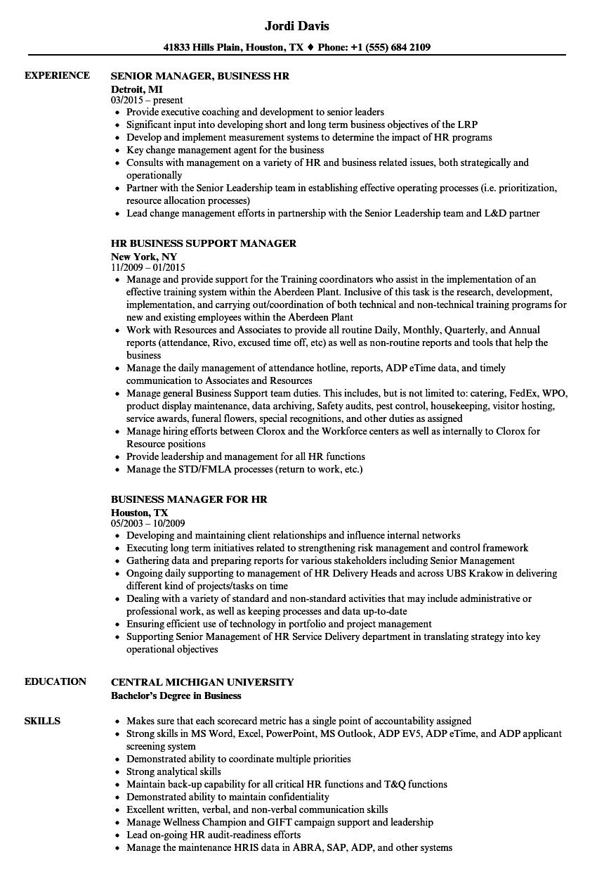 HR / Business Manager Resume Samples | Velvet Jobs