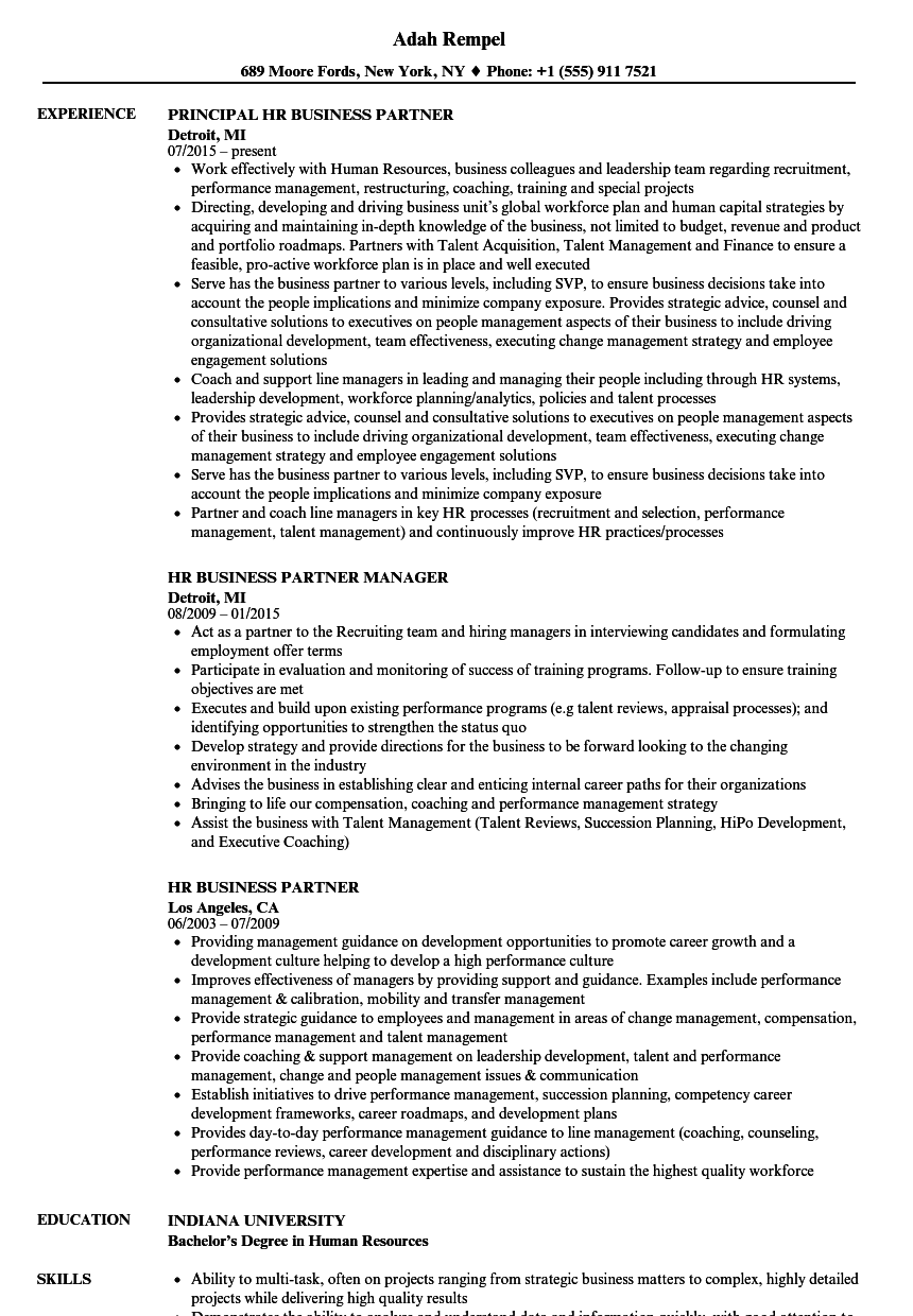 HR Business Partner Resume Samples | Velvet Jobs