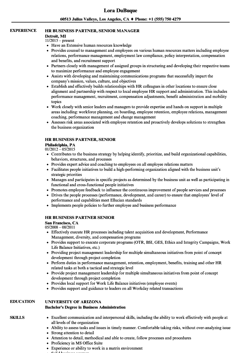 hr business partner senior resume samples