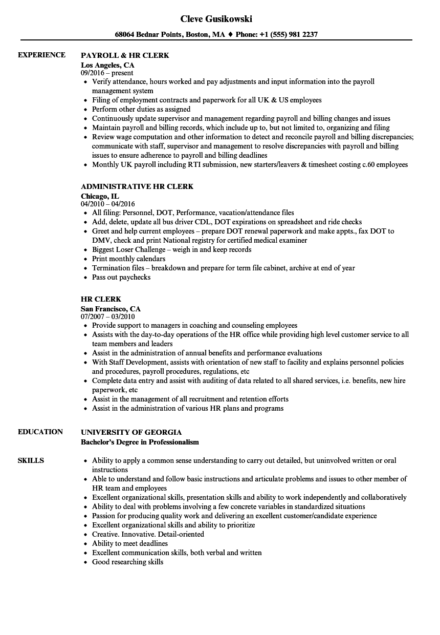 HR Clerk Resume Samples | Velvet Jobs