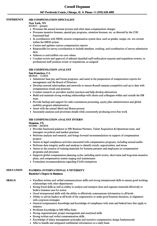 Hr Compensation Resume Samples Velvet Jobs