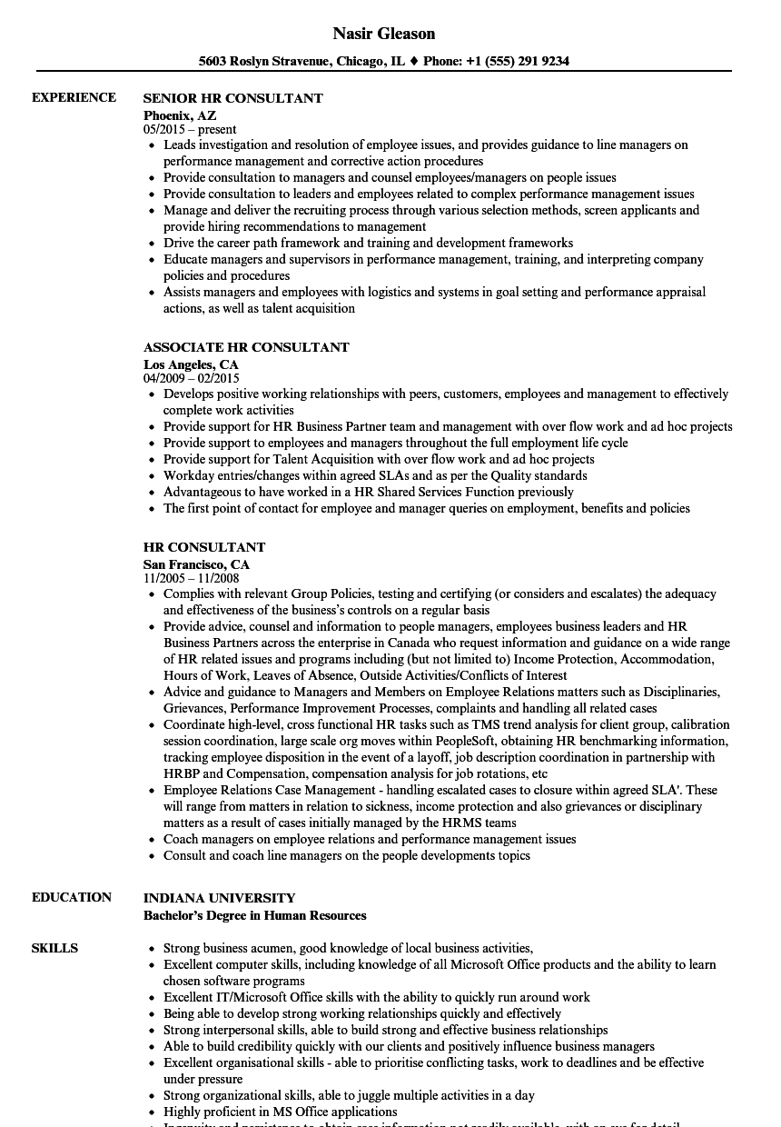 hr consultant resume samples