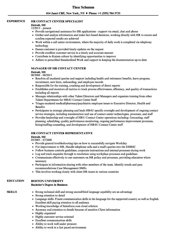 HR Contact Center Resume Samples   Velvet Jobs
