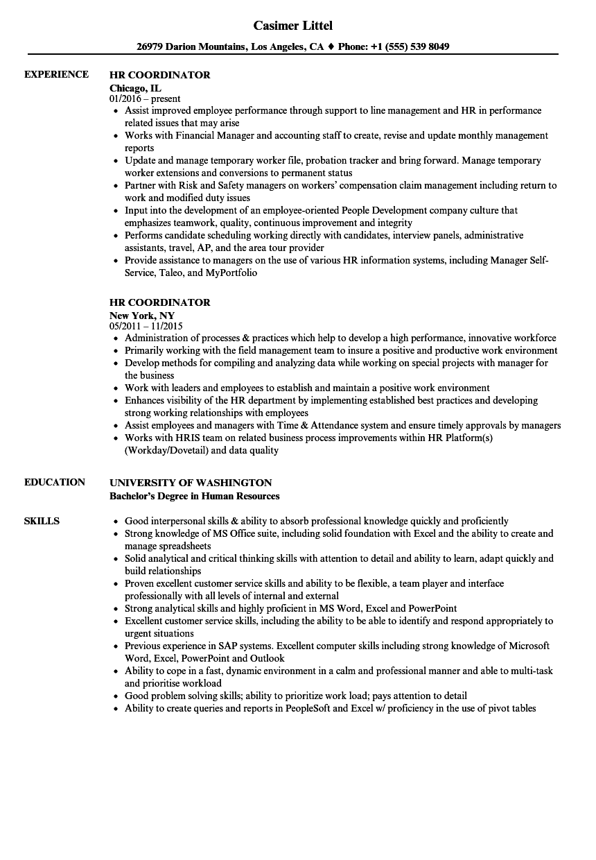hr coordinator resume samples