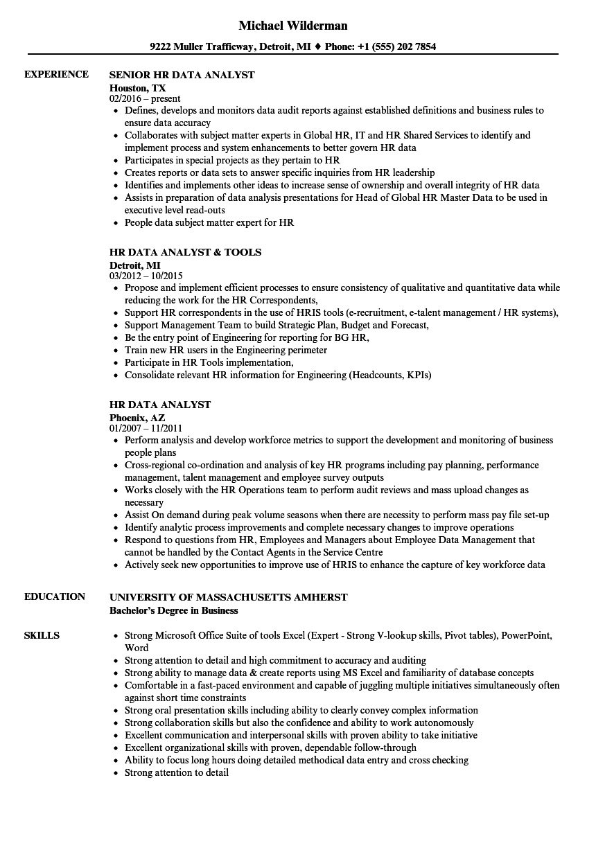 HR Data Analyst Resume Samples