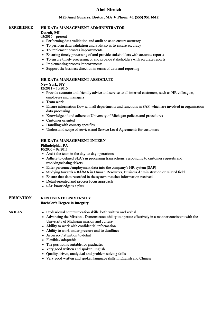 download hr data management resume sample as image file - Data Processing Manager Sample Resume