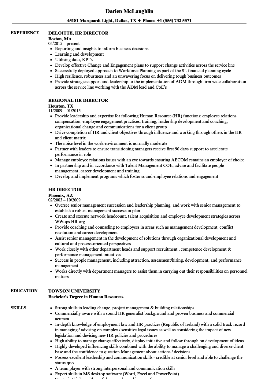 Hr Director Resume Samples Velvet Jobs