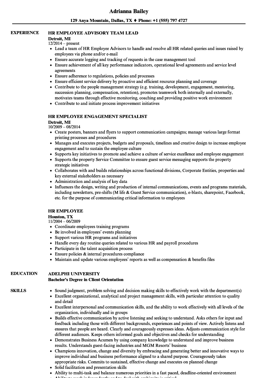 download hr employee resume sample as image file - Sample Employment Resume