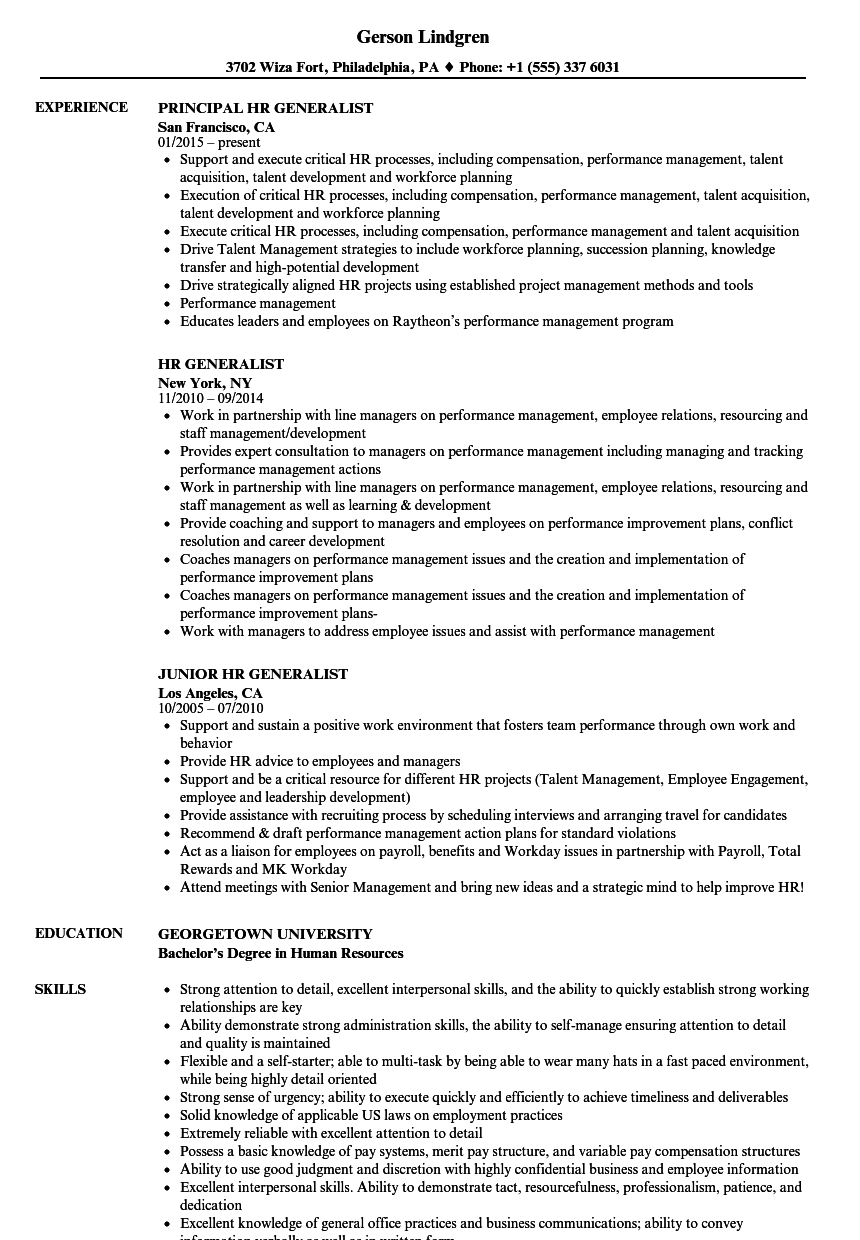 Hr Generalist Resume Samples Velvet Jobs