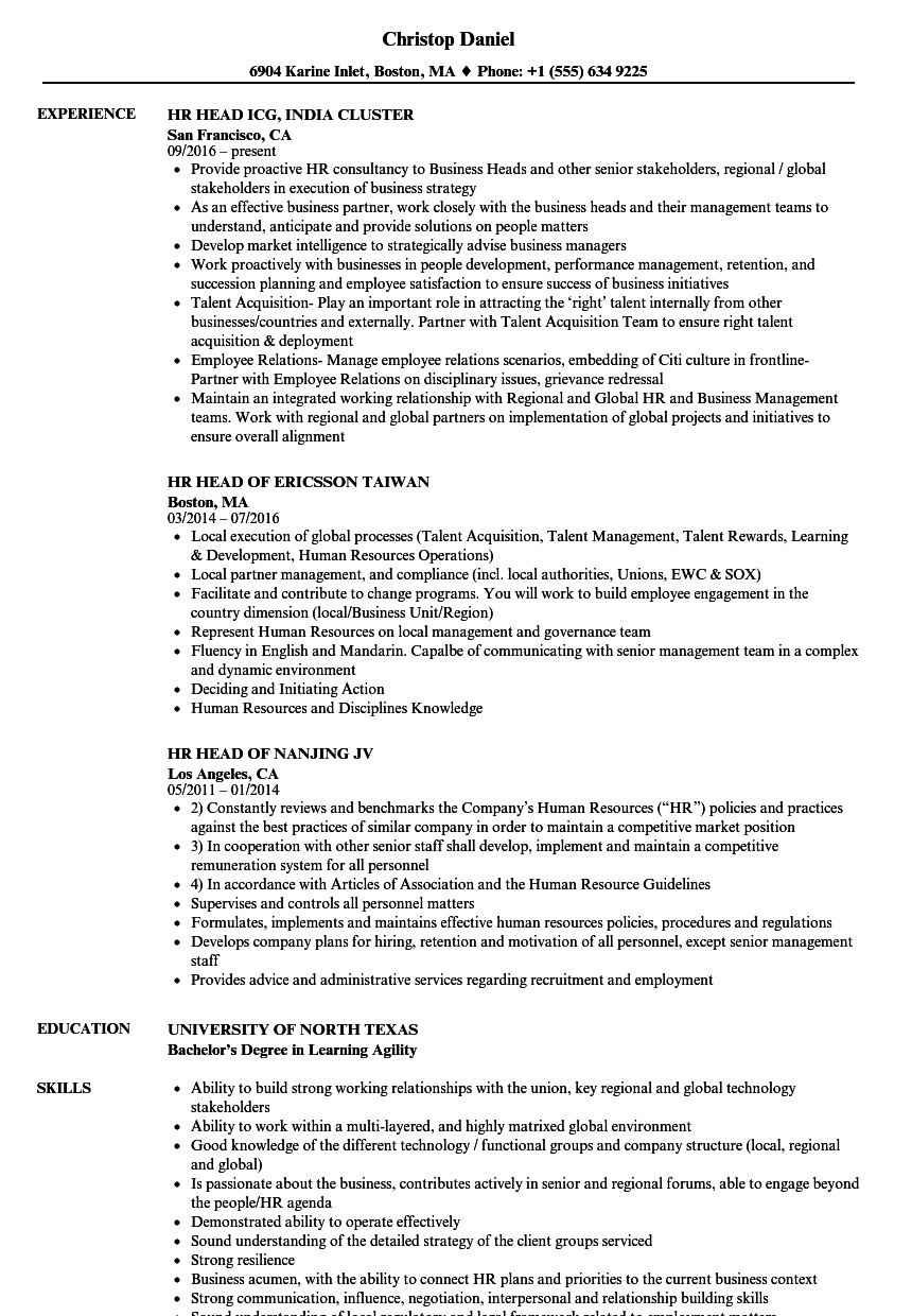 Hr Head Resume Samples Velvet Jobs