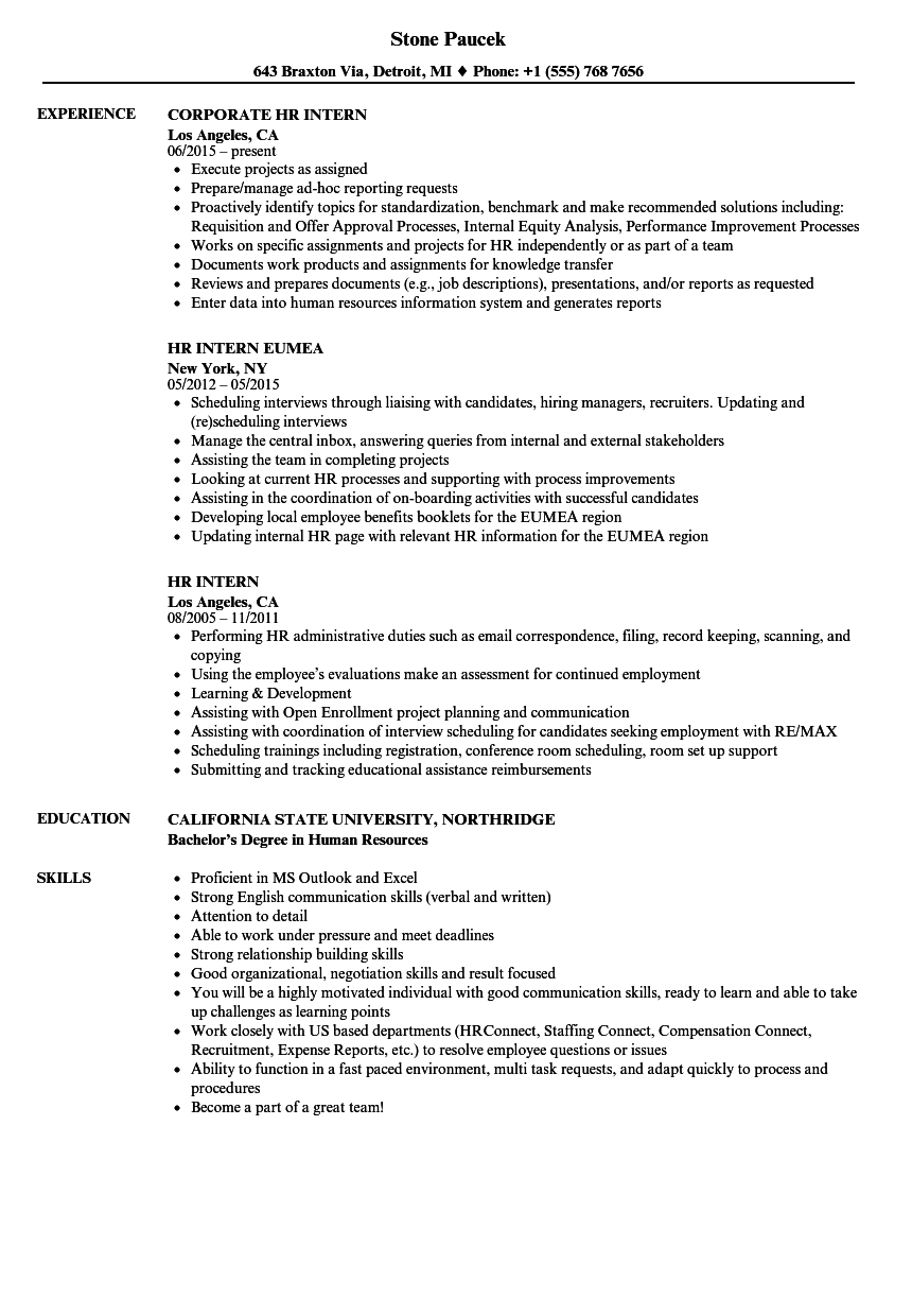 HR Intern Resume Samples | Velvet Jobs