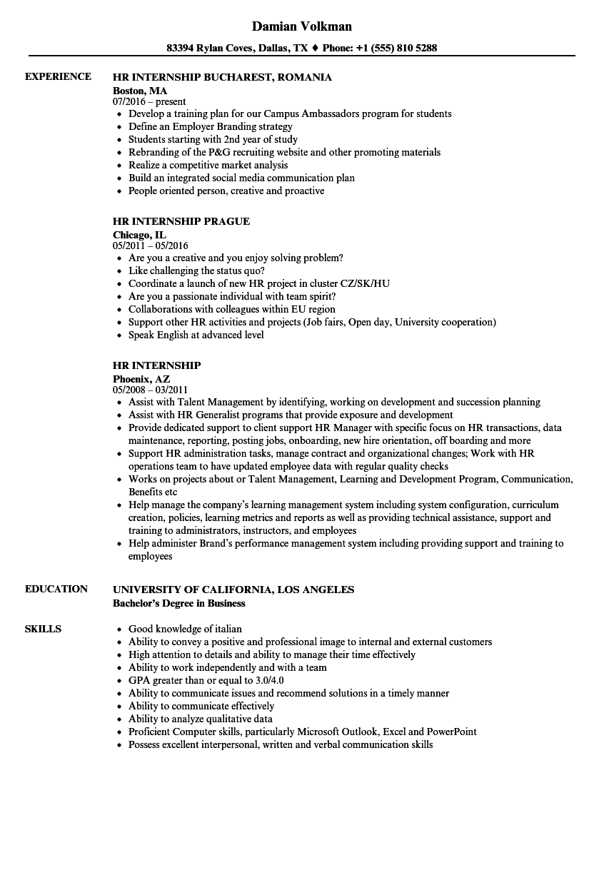 Hr Internship Resume Samples Velvet Jobs
