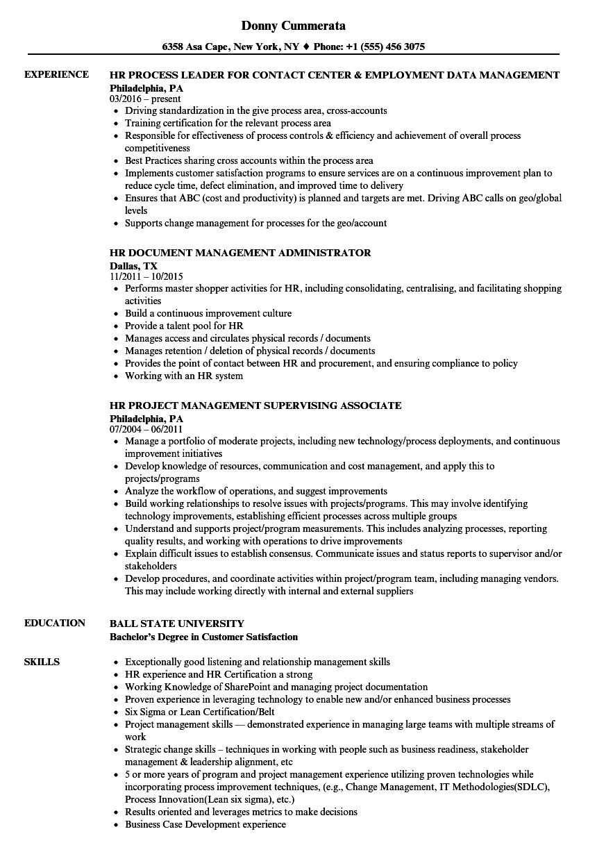 hr management resume samples