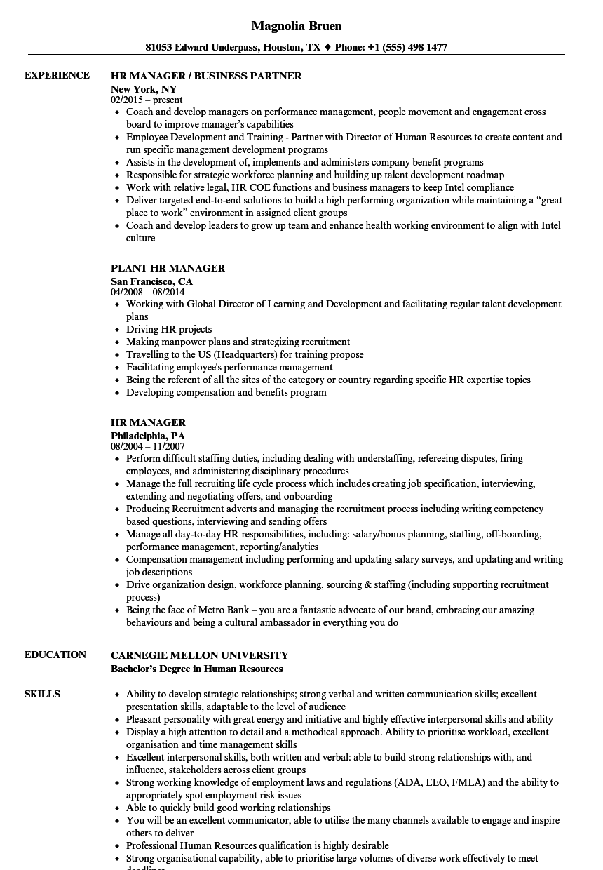 sample human resource manager resume