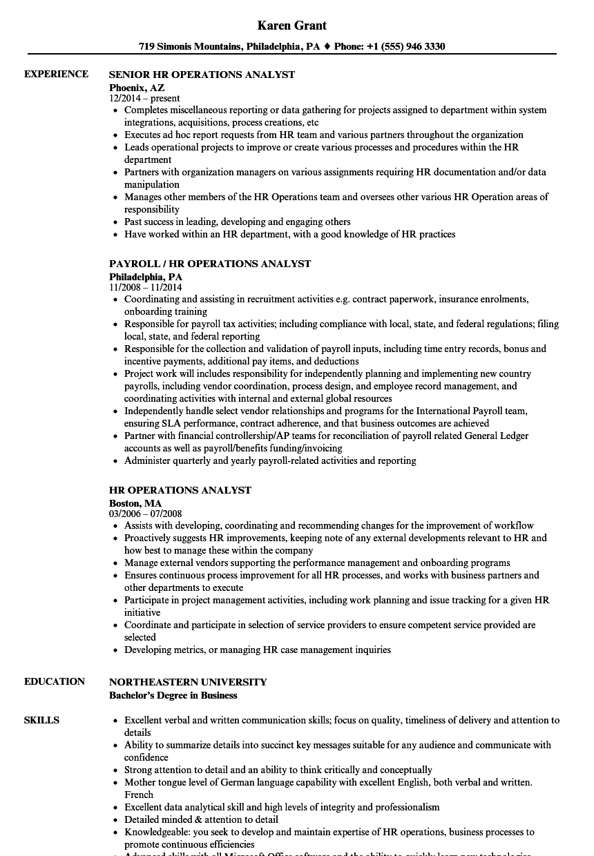 Hr Operations Analyst Resume Samples Velvet Jobs