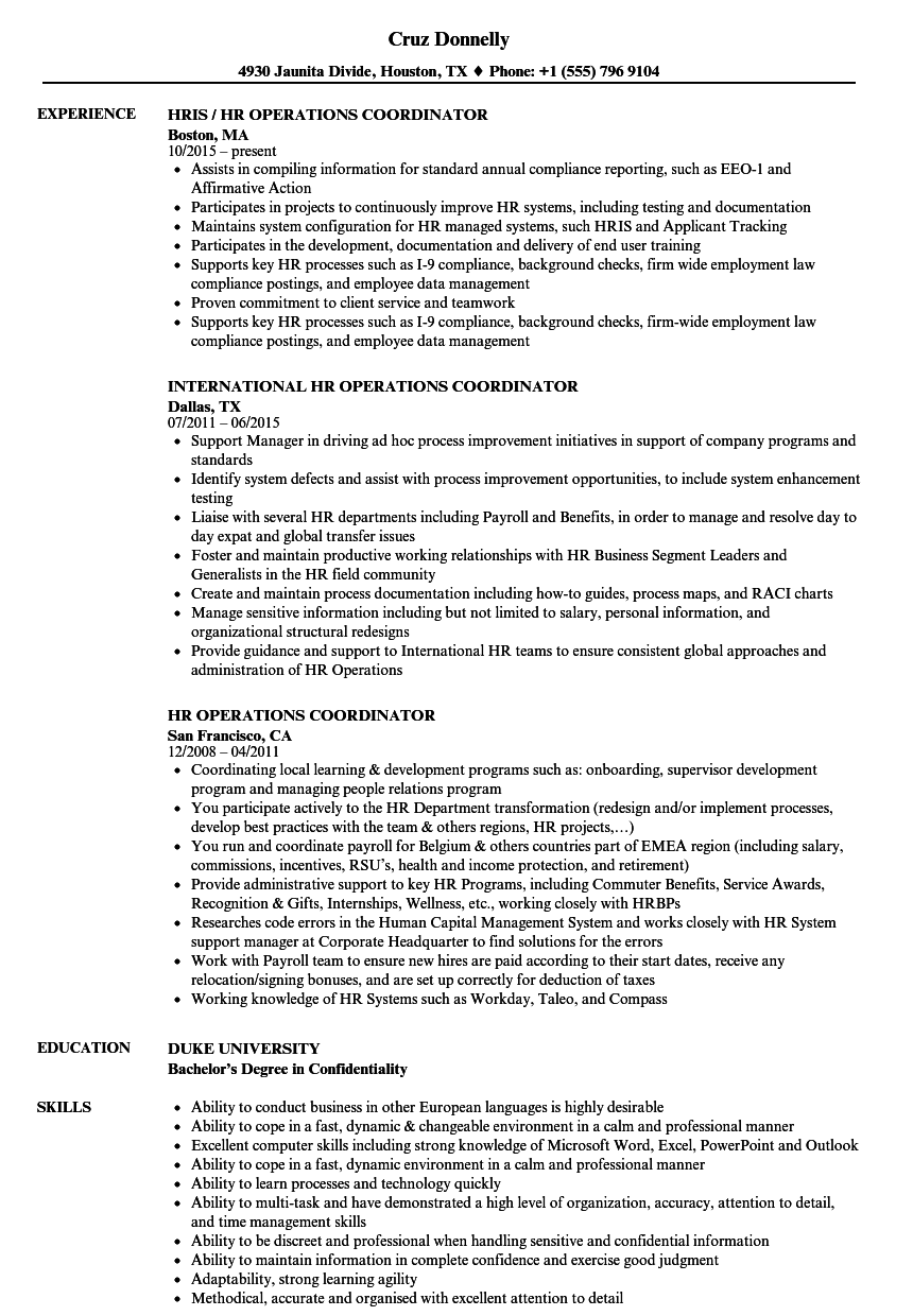 hr operations coordinator resume samples