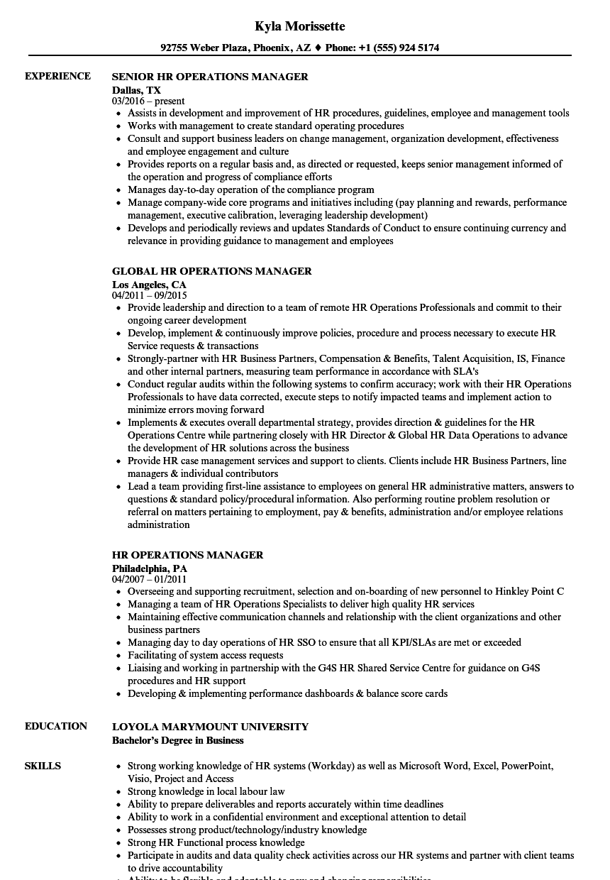 hr operations manager resume samples
