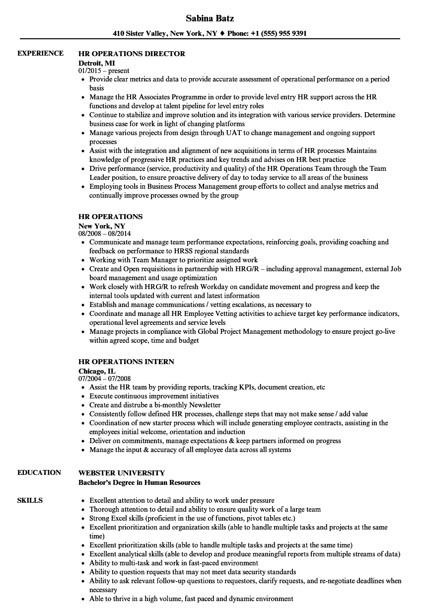 hr operations resume samples