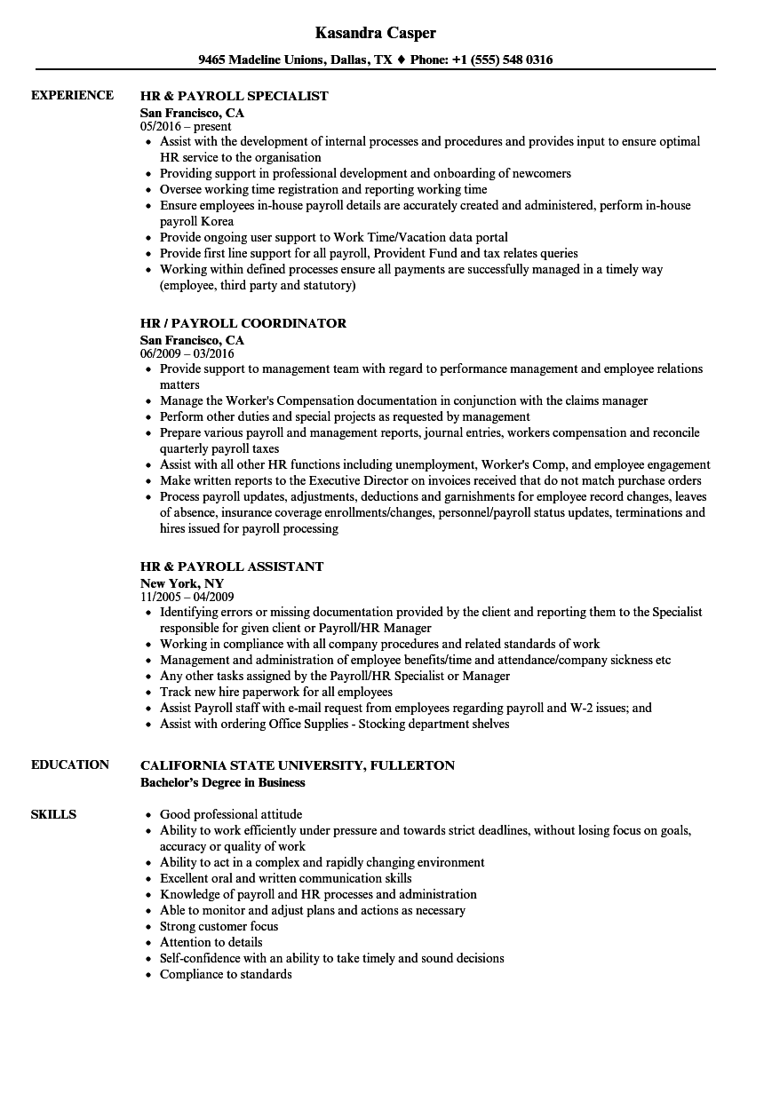 Hr Payroll Resume Samples Velvet Jobs