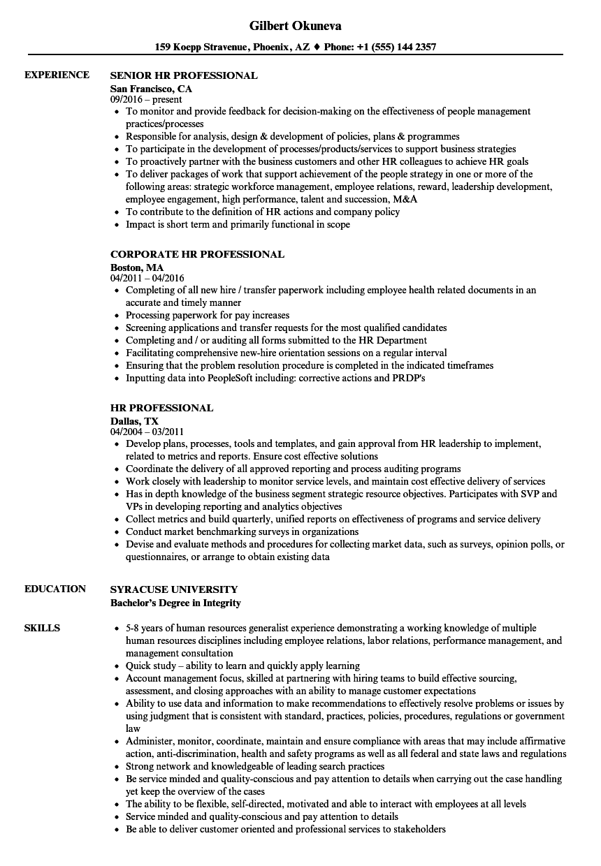 hr professional resume samples