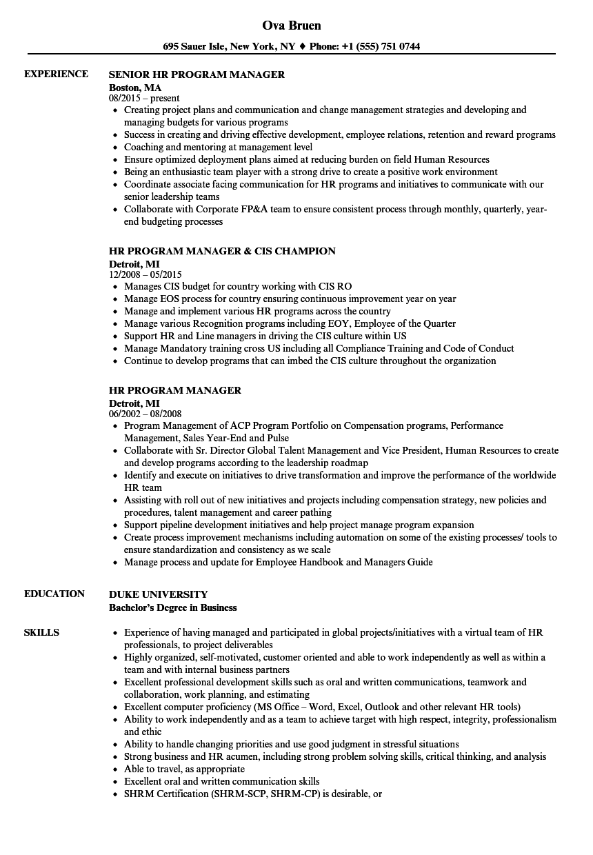 HR Program Manager Resume Samples | Velvet Jobs
