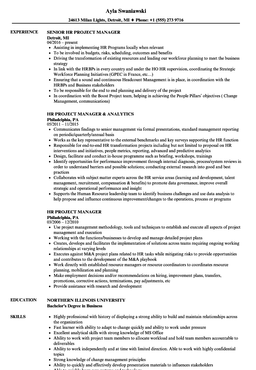 HR Project Manager Resume Samples | Velvet Jobs