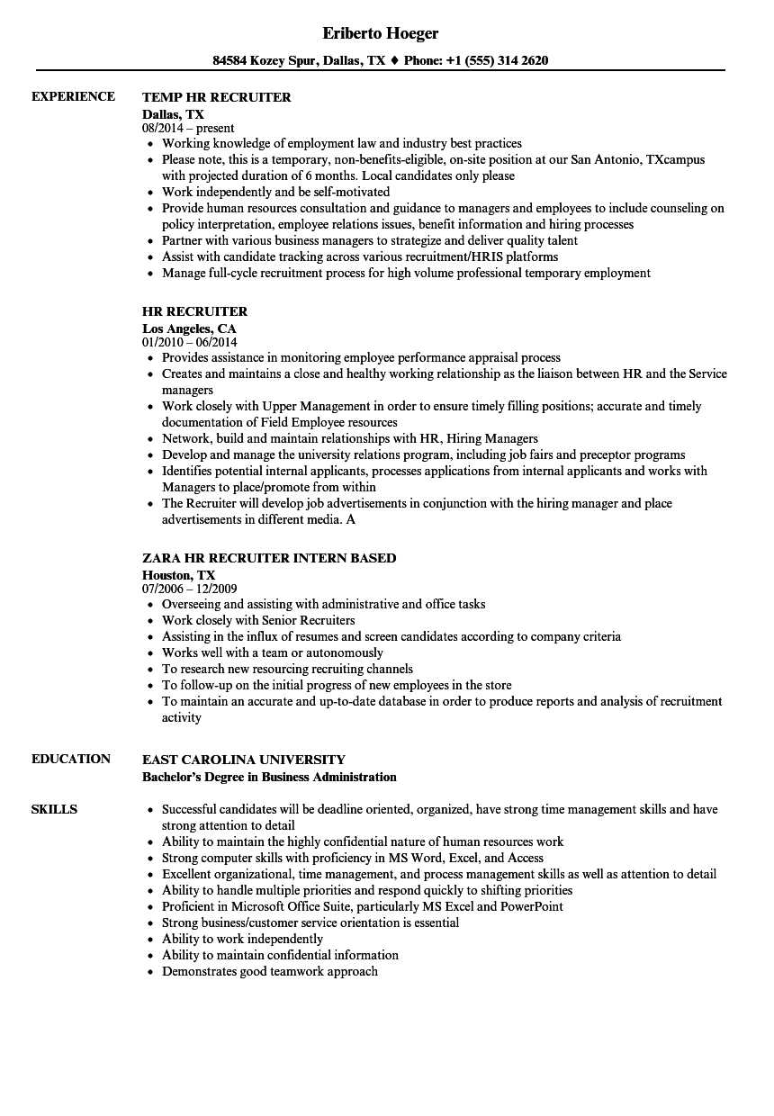 HR Recruiter Resume Samples | Velvet Jobs