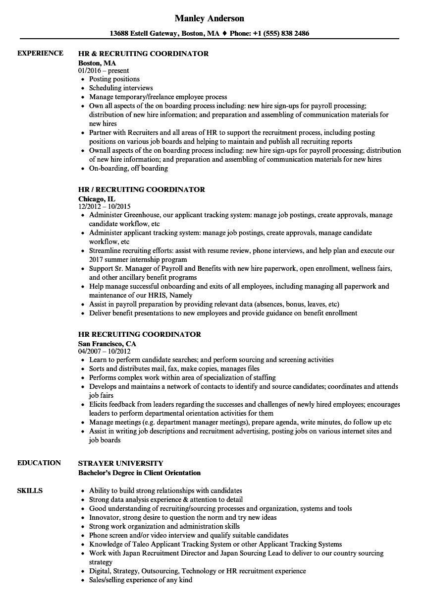 hr recruiting resume samples