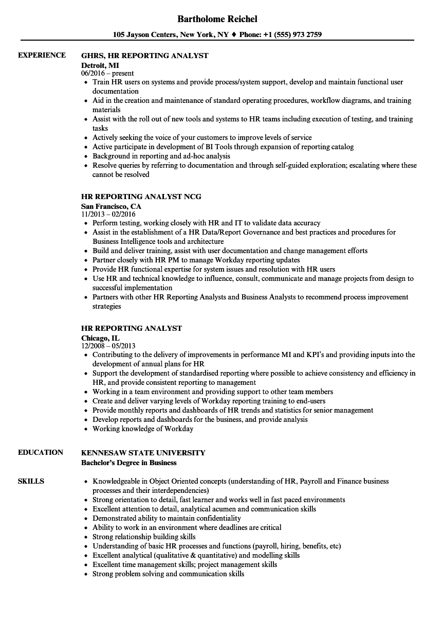 download hr reporting analyst resume sample as image file