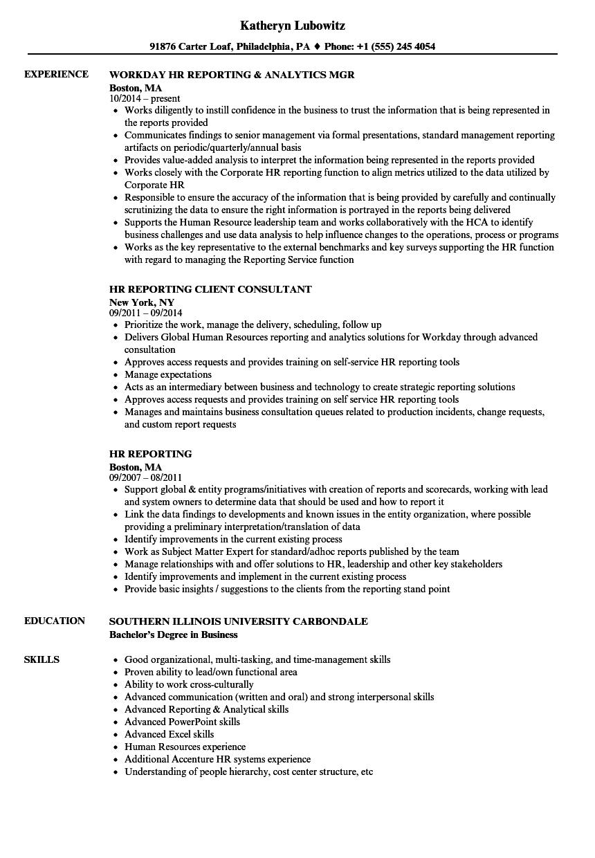 Hr Reporting Resume Samples Velvet Jobs