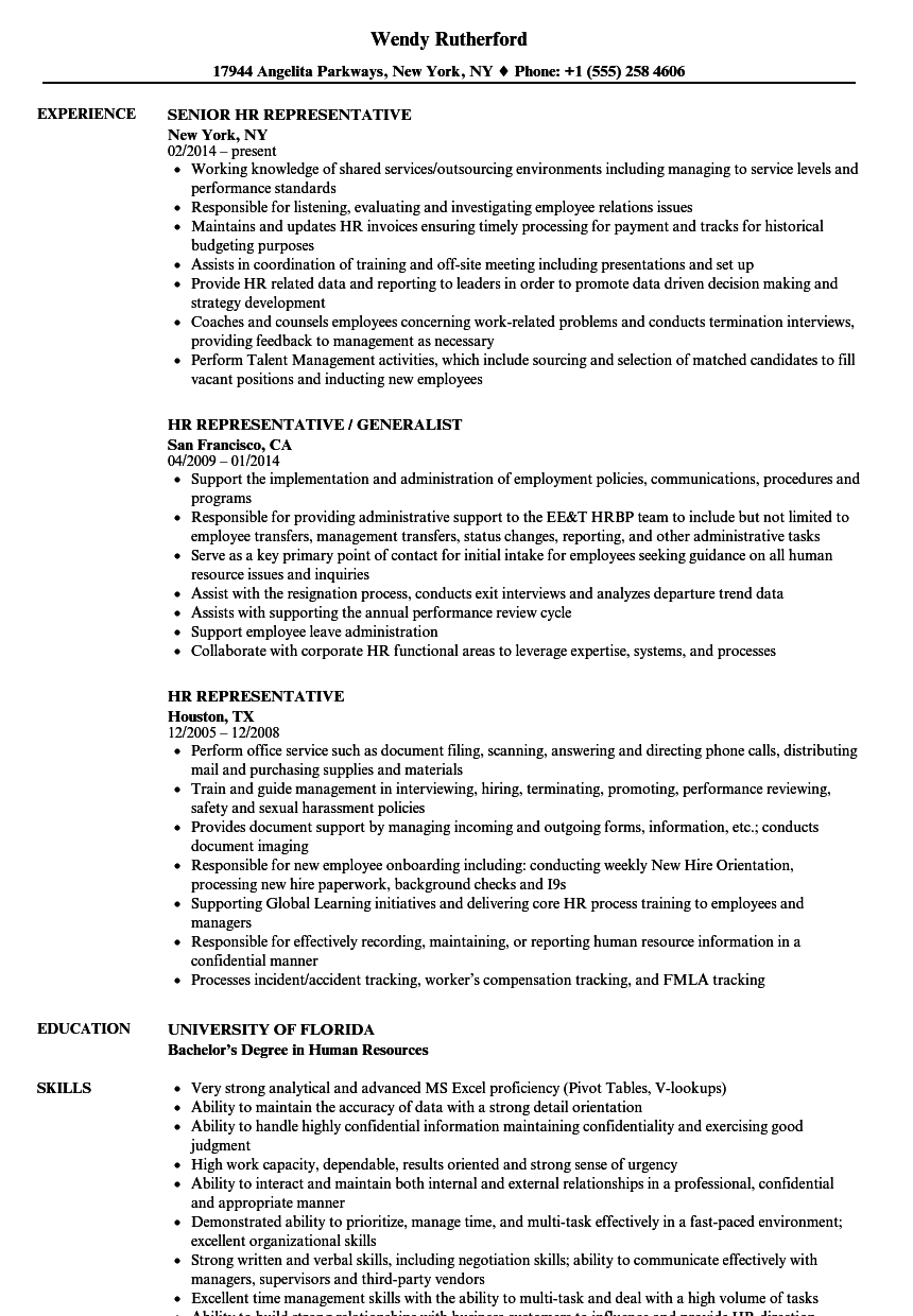 hr representative resume samples