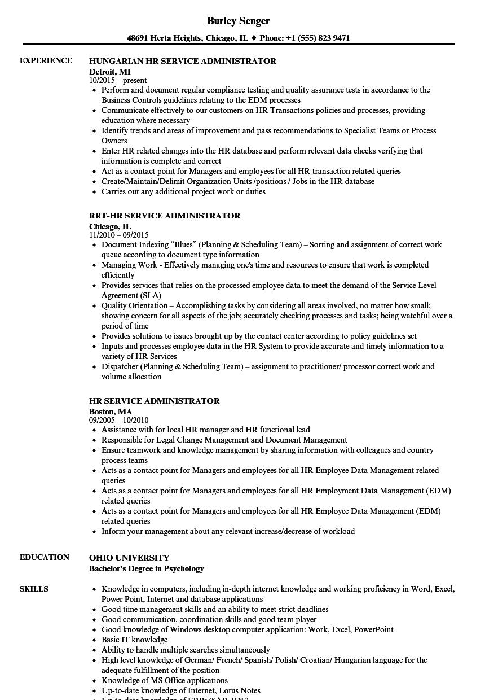 HR Service Administrator Resume Samples | Velvet Jobs