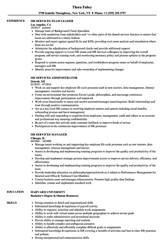 HR Services Resume Samples | Velvet Jobs