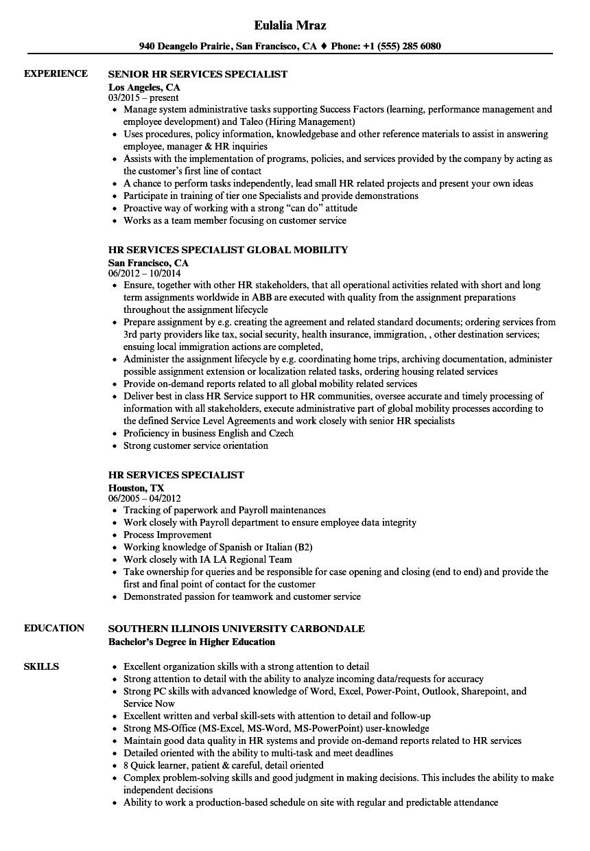 HR Services Specialist Resume Samples | Velvet Jobs