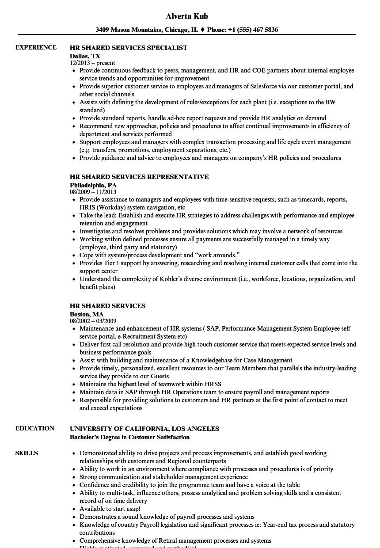 Hr Shared Services Resume Samples Velvet Jobs