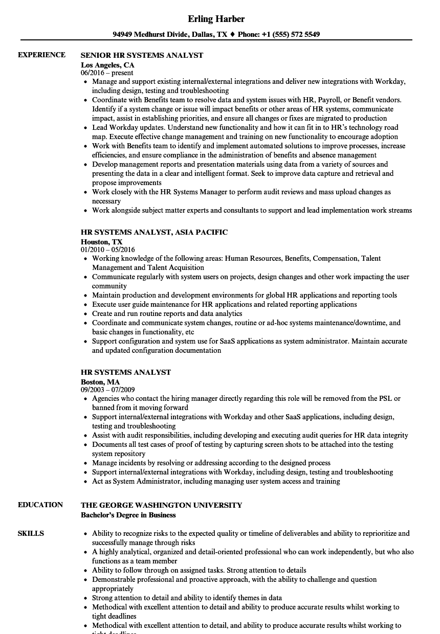 hr systems analyst resume samples