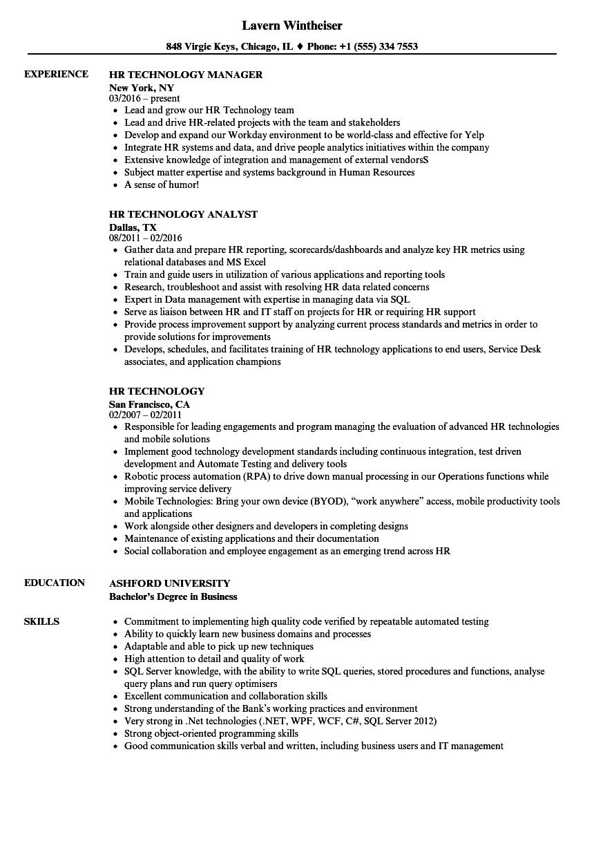 HR Technology Resume Samples | Velvet Jobs